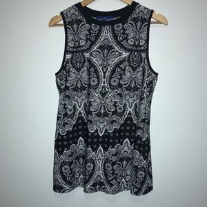 💴 Apt 9 Black and White Paisley Dress Top XL